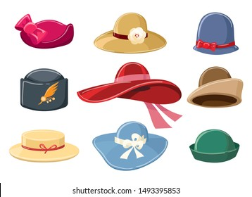 Cartoon hats. Colourful hat set for women vector illustration, headgears for ladies isolated on white background