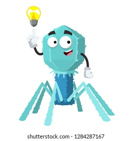 cartoon have an idea bacteriophage cell mascot on white background isolated