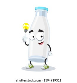 cartoon have an idea filled glass milk bottle mascot on white background
