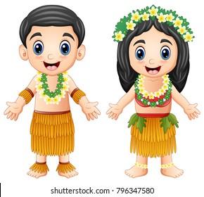 Cartoon Hawaiian couple wearing traditional costumes