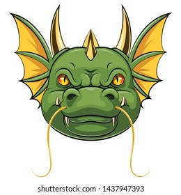A cartoon head of dragon mascot