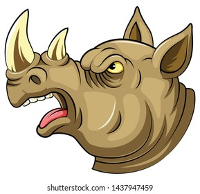 A cartoon Head of an roaring rhino
