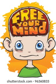 cartoon head with text free your mind inside