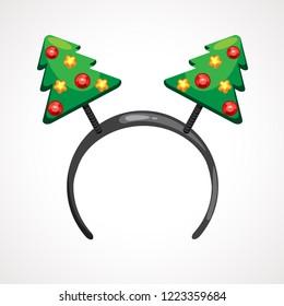 Cartoon headband icon with Christmas tree shape ears. Vector illustration. Head decor for party time