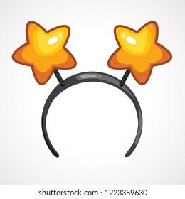Cartoon headband icon with star shape ears. Vector illustration. Cartoon hoop for hair with hearts Cartoon headbands with heards. Head decor for party time