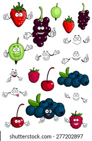 Cartoon healthy berries and fruit characters with cherry, strawberry, raspberry, blueberry, gooseberry and currant for fresh nutrition food concept design, isolated on white background