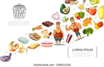 Cartoon healthy lifestyle concept with fat and athletic men fruits vegetables nuts chocolate cakes eggs fish butter tea vector illustration