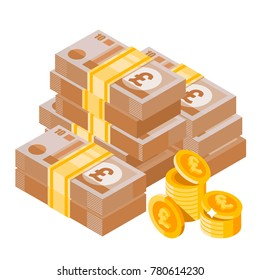 Cartoon heap of pound sterling. Big pile of english money. Money icon in isometric style. Money illustration of wealth and condition.