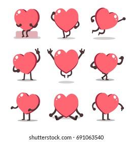 Cartoon heart character poses