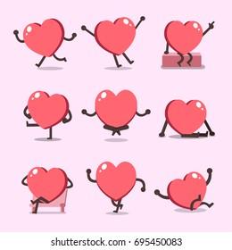 Cartoon heart character poses set