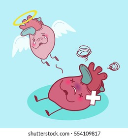 cartoon heart dead and sick with blue background