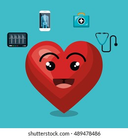 cartoon heart icon medical design isolated
