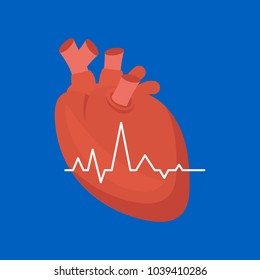Cartoon Heart on a Blue Background Cardiovascular System Concept of Diagnostics and Warning Signs Flat Design Style . Vector illustration
