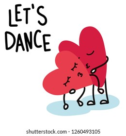 Cartoon hearts dance and kiss tenderly on Valentine's day