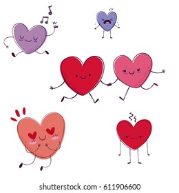Cartoon hearts funny and cute design. Flat icon. Vector illustration. Good for card, invitations design.