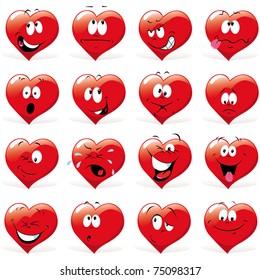 cartoon hearts with many expressions