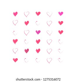Cartoon hearts pattern. Hand draw hearts