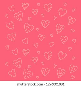 Cartoon hearts pattern. Hand draw hearts. Valentines day.