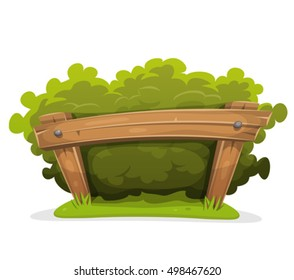 Cartoon Hedge With Wood Barrier/ Illustration of a cartoon hedge with wooden barrier