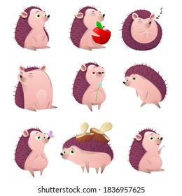 Cartoon hedgehog character set. Cartoon prickly animal  in different poses on a white background.  Forest animal, spiny mammal. Cute hedgehog with apple and mushrooms. Vector illustration