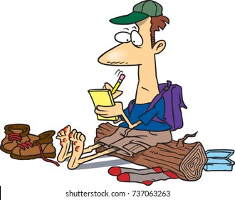cartoon hiker sitting on a log with his shoes off and lots of blisters on his feet