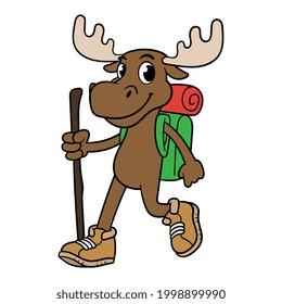 Cartoon Hiking Moose Character Vector Illustration