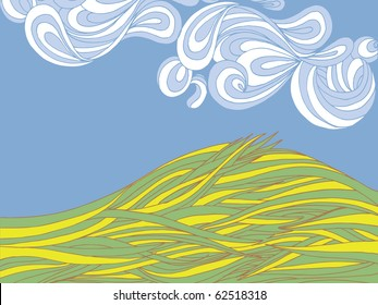 Cartoon hill background with room for text.