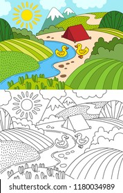 Cartoon hills, meadow with ducks, mountains and river. Kids coloring book.