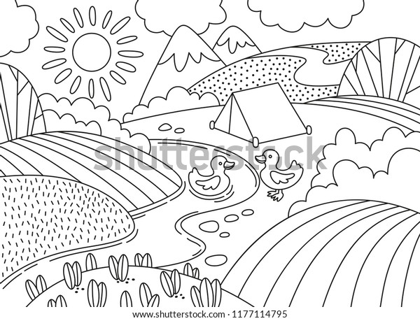 Tree & River Nature Scene Coloring Page - Coloring for Adults by ... | 459x600