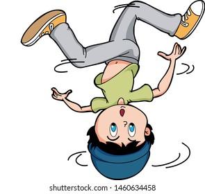 cartoon hip hop young boy breakdance spining head style