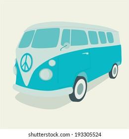cartoon hippie, car vector illustration, flat design