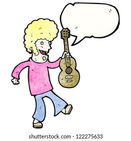 cartoon hippie man with guitar