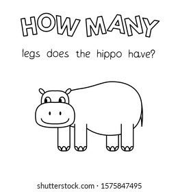 Cartoon hippo counting game. Vector coloring book pages for children education. How many legs does the hippo have