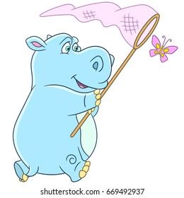 Cartoon hippo (hippopotamus, behemoth) and butterfly. Vector illustration for kids and children.