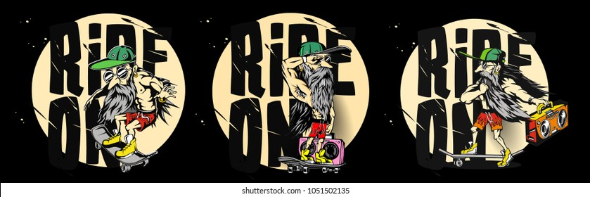 Cartoon of hipster male, ride on skateboard, sports, tshirt print, vector illustration