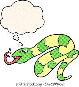 cartoon hissing snake with thought bubble in comic book style