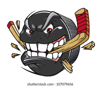 Cartoon hockey puck bites and breaks hockey stick, such logo. Jpeg version also available in gallery