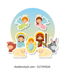 cartoon holy family with angels and animals over white background. colorful design. vector illustration