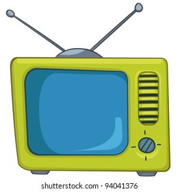 Cartoon Home Appliances Old TV Isolated on White Background. Vector.