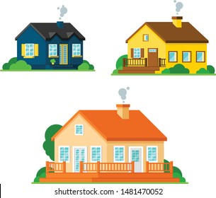 Cartoon home and cottages set. Flat vector illustration.