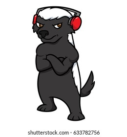 Cartoon Honey Badger Wearing Headphones Vector Illustration