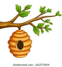 Cartoon honeycomb hanging on a tree branch. vector illustration