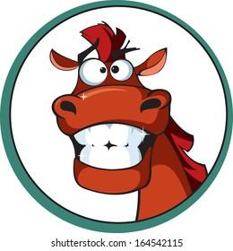 Cartoon horse with a brilliant smile