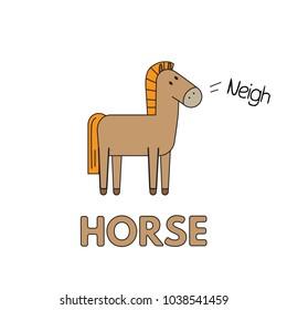 Cartoon horse flashcard. Vector illustration for children education