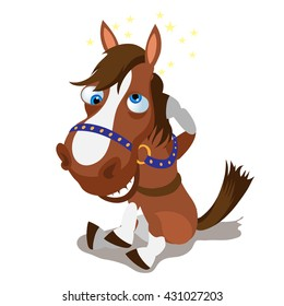 Cartoon horse hit his head and smiling isolated on white background. Vector cartoon close-up illustration.