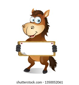 Cartoon Horse holding Blank Sign with both hands