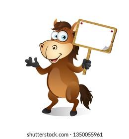 Cartoon Horse holding a wooden signboard