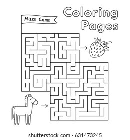 Cartoon horse maze game. Vector coloring book pages for children