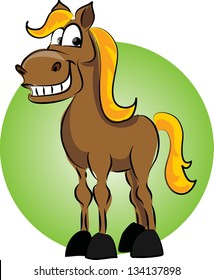Cartoon horse on green background