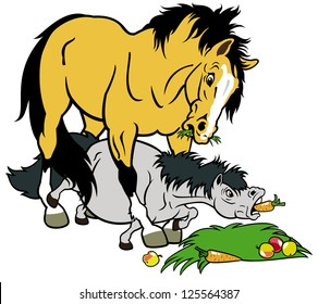 cartoon horse and pony,children illustration,vector picture isolated on white background